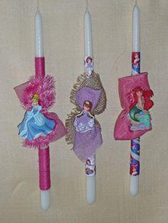 Πασχαλινές λαμπάδες Disney Princess Decorated Candles, Easter Candle, Palm Sunday, Candels, Pta, Disney Outfits, Easter Crafts, Giveaways, Christmas Ornaments