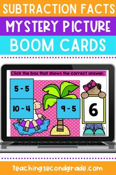If you are looking for fun ways to teach or practice subtraction facts with your kindergarten, 1st grade, or 2nd grade students while distance learning, you need these Boom cards! Your students will play a fun mystery picture game while practicing their subtraction skills, and the best part is, they get instant feedback so no grading for you! This activity includes 3 different pictures with 9 problems each. #subtractionpractice #subtractionworksheets #distancelearning #teachingsubtraction Teaching Subtraction, Subtraction Worksheets, Learning Resources, Teacher Resources, Teaching Class, Google Classroom, Distance, Facts, Teaching Resources