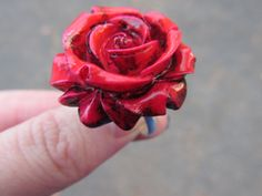 Romantic Rose Ring Handmade Adjustable Neon Pink & by OhYarnKnit