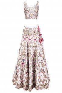 Off White Silk Thread and Zari Embroidered Lehenga Set #samantchauhan #shopnow #ppus #happyshopping