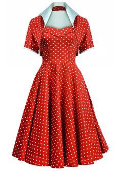 50s Dotty Swing Dress Ensemble - Red...cant resist a polka dot!