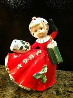 Vintage Christmas Girl Planter