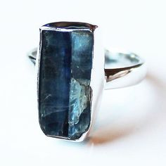 100% 925 Solid Sterling Silver Rough Blue Kyanite Stone Ring - Sizes 7, 8 or 9