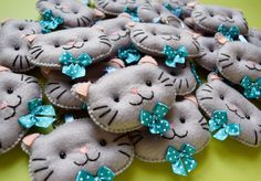 Chaveiros de feltro - gatinhos