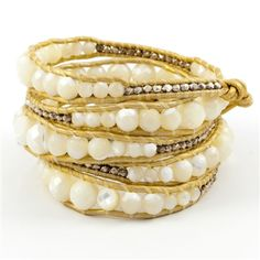 White Mother of Pearl Wrap Bracelet with Sterling Silver Nuggets on Gold Leather by Chan Luu