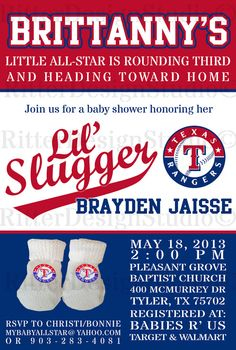 Texas Rangers Baseball Baby Shower Invitation - Printable