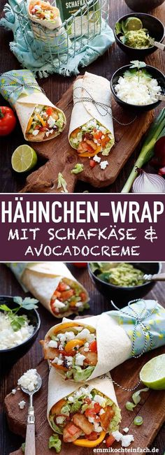 Wrap with chicken, sheep cheese and avocado cream - easy to cook - Wrap with Ch. - Wrap with chicken, sheep cheese and avocado cream – easy to cook – Wrap with Chicken, Sheep &# - Easy Salad Recipes, Chicken Salad Recipes, Easy Salads, Seafood Recipes, Snack Recipes, Easy Meals, Healthy Recipes, Sheep Cheese, Lunch Meal Prep