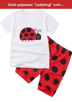 """Girls pajamas """"Ladybug"""" cotton short toddler clothes kids pajamas T8. Material:100% Cotton,wear comfortable; Size:2-8Years,you can see the title Color:White,it is very cute; Quantity: 1 Short sleeve T shirt+1 Short pants Welcome to Dolphin&Fish Company, we have thousands of products,If you need more Pajamas, Please enter our store or search for 'Dolphin&Fish Pajamas',thanks.your children will love it;."""