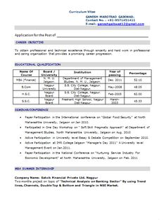 Fresher Resume For Mba   Opinion Of Experts