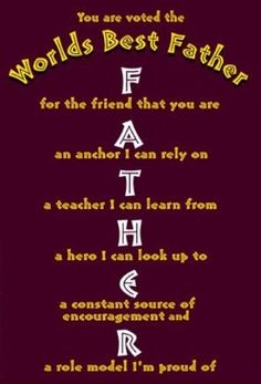 Father quotes from son for father's day 2017. This greeting says..Dad, you are voted for world's best father. A father means...F for the friend you are, A an anchor i can rely on, T..A teacher I can learn from, H for a hero I can look up to, E for a constant source of encouragement and R for a role model I'm proud of.