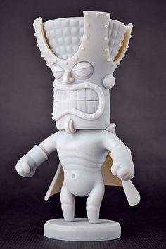 Super Tiki, il personaggio stampato in 3D progettato dall' artista digitale Ralf Stumpf.