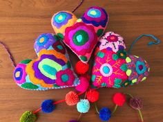 Handmade felted heart with pompoms / mexican embroidered