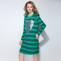 Striped Knitted Sweatshirt Dress Green Spring Long TEE Casual Plus Size Women Clothing l to 4xl 5xl