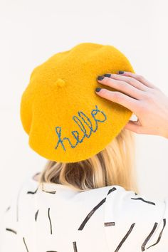 An Embroidered DIY Beret Idea DIY Beret! Embroider a message on an inexpensive beret to standout from the crowd. Embroider a message on an inexpensive beret to standout from the crowd. Paper Embroidery, Vintage Embroidery, Embroidery Patterns, Reverse Tie Dye, Fashion Tips For Women, Diy Fashion, Womens Fashion, Fashion Ideas, Fashion Edgy