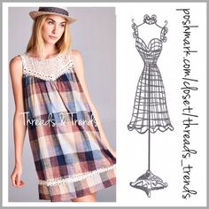 Prairie Girl Paid Shift Dress Get this darling look! Plaid Prairie girl shift dress with crochet lace yoke and trim. Fabulous array of hued colors blue, yellow, beige, wine and rust. Made of a cotton blend. size S, M, L pair with leggings or wear as a mi dress Threads & Trends Dresses