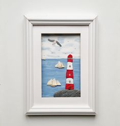 Lighthouse and Tall Ships, Quirky Wall Art, Nautical Decor, Beach House Decor, Framed Coastal Wall Art, Made in Cornwall, Unusual Gifts Coastal Wall Decor, Beach House Decor, Tall Ships, Unusual Gifts, Box Frames, Unique Home Decor, Cornwall, Lighthouse, Red And White