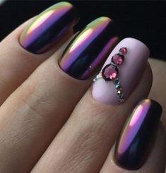 Chrome nail designs  #chrome #nails Purple Chrome Nails, Chrome Nail Art, Christmas Nail Art Designs, Christmas Nails, Purple Christmas, Trendy Nails, Cute Nails, Stylish Nails, Special Nails