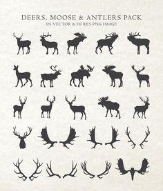 Deer Moose Antler Animal Silhouette Clipart Clip by seaquintdesign Moose Silhouette, Silhouette Tattoos, Animal Silhouette, Moose Tattoo, Raven Tattoo, Tattoo Ink, Arm Tattoo, Antler Drawing, Moose Antlers