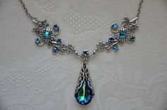 Vintage Antique Jewelry | Vintage Style Necklace,Victorian Jewelry,Bermuda Blue,Filigree,Antique