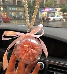 Car Charm Hanging Ornaments-Perserved fresh Pink flower in Glass Ball Pendant