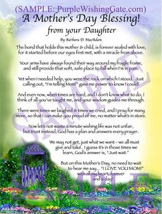 Mother's Day Blessing from Daughter