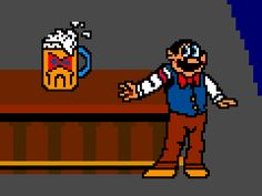 """The bartender from Bally Midway's 1983 arcade game """"Tapper"""""""