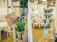 Charming Homemade Blue Wedding Potted Plant Ladder Table Plan http://www.lifelinephotography.co.uk/
