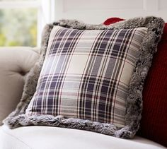 NEED these Jasper Plaid Pillow Cover with Fur Trim #potterybarn
