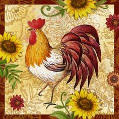 ROOSTER * Rooster Painting, Rooster Art, Rooster Decor, Chicken Crafts, Chicken Art, Chickens And Roosters, Pet Chickens, Decoupage, Arte Do Galo