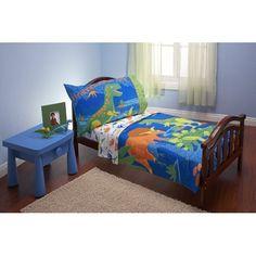 Everything Kids 4 Piece Toddler Bedding Set Dinosaurs Kids Twin Bedding Sets, Mens Bedding Sets, Toddler Bed Sheets, Comforter Sets, Toddler Comforter, Bed Sets, Dinosaur Toddler Bedding, Dinosaur Bedroom, Vogue Kids