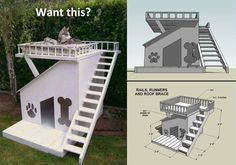 Dog house with a sunning deck