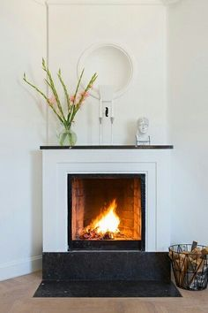 Small Fireplace, Bedroom Fireplace, Fireplace Mantle, Living Room With Fireplace, Fireplace Design, Fireplace Decorations, Floor Decor And More, House By The Sea, Rustic Contemporary