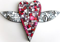 LOVE LOVE LOVE. Heart With Wings. Mixed Media Mosaic.