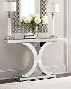 Silver and white console | Horchow