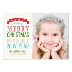 Merry Message Holiday Photo Card - White Personalized Invites
