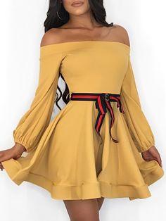 ea20678f3fcf Off Shoulder Lantern Sleeve Mini Dress With Belt  styled  fashionistas   goodvibesonly  fashiongram