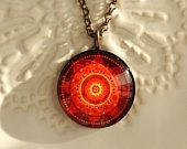 Healing Necklace Spiritual Necklace FIRE MANDALA Necklace Red Mandala Jewelry with Meaning Healing Jewelry Spiritual Jewelry Spiritual Gift