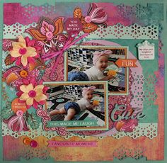 Sweet Pea - double page Designed by Carol Barron Includes photos and instructions Scrapbooking Layouts, Scrapbook Pages, Paper Art, Paper Crafts, Page Design, Projects To Try, Quilts, Winter Decorations, Anna Griffin