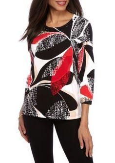 Alfred Dunner Multi Ethnic Beat Textured Floral Sweater