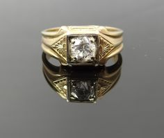 Lovely Two Tone Victorian Rose Gold Column Side Mens Diamond Ring - RGDI430P by MSJewelers on Etsy https://www.etsy.com/listing/153122828/lovely-two-tone-victorian-rose-gold
