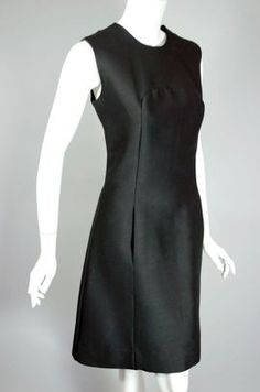 1960s black alaskine mod minimalist cocktail dress, size small, $135