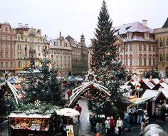 The Christmas market in Prague, Czech Republic.