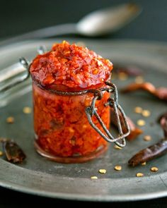 Homemade Harissa (Spicy Red Pepper Paste) Mmm can I ferment this? Indian Food Recipes, New Recipes, Cooking Recipes, Favorite Recipes, Chutneys, Red Pepper Paste, Chilli Paste, Chili Paste Recipe, Dips