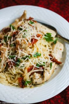 This recipe takes just 20 minutes ~ Sun Dried Tomato Chicken Pasta