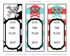 Modern Pirate Party INVITATION Printable {INSTANT DOWNLOAD} Dunham Design Company