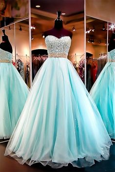 Stunning Customized Ball Gown Sweetheart Aqua prom dress Simple V-neck Long A-line Prom Dresses, Cheap Prom Dresses Aqua Prom Dress, Pretty Prom Dresses, Sweet 16 Dresses, Pageant Dresses, Quinceanera Dresses, Turquoise Prom Dresses, Stunning Prom Dresses, Aqua Dresses, Bridesmaid Dresses