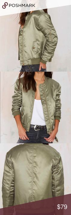 Nasty Gal Glamorous Take Games Bomber Jacket NWT Nasty Gal Glamorous Take Games Bomber Jacket XS NWT  This year, fall's all about being a good sport. This silky athletic-inspired bomber jacket has pockets at waist, an exposed gold zip closure, and ribbing at neck, cuffs, and hem. Quilted orange lining. Wear it with a leather baseball cap and a bodycon. Game over. By Glamorous. *Polyester *Runs true to size *Model is wearing XS *Hand wash cold *Imported Nasty Gal Jackets & Coats