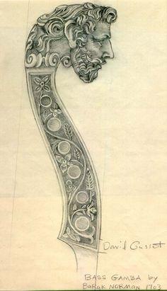 Head of bass gamba by Barak Norman, 1703