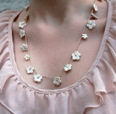 Porcelain flower necklace - ceramic jewellery - white daisy chain garland  Jo Lucksted Ceramics, Folksy