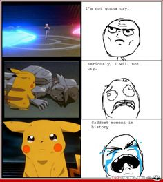 Saddest Pokemon moment ever :'( poor crying Pikachu and 'dead' stoney Ash. Pokemon Movies, Pokemon Funny, My Pokemon, Pokemon Quotes, Pokemon Pins, Pokemon Stuff, Pokemon Fusion, Gotta Catch Them All, Catch Em All